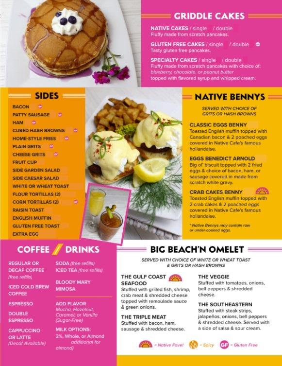 Native Cafe Brunch Menu