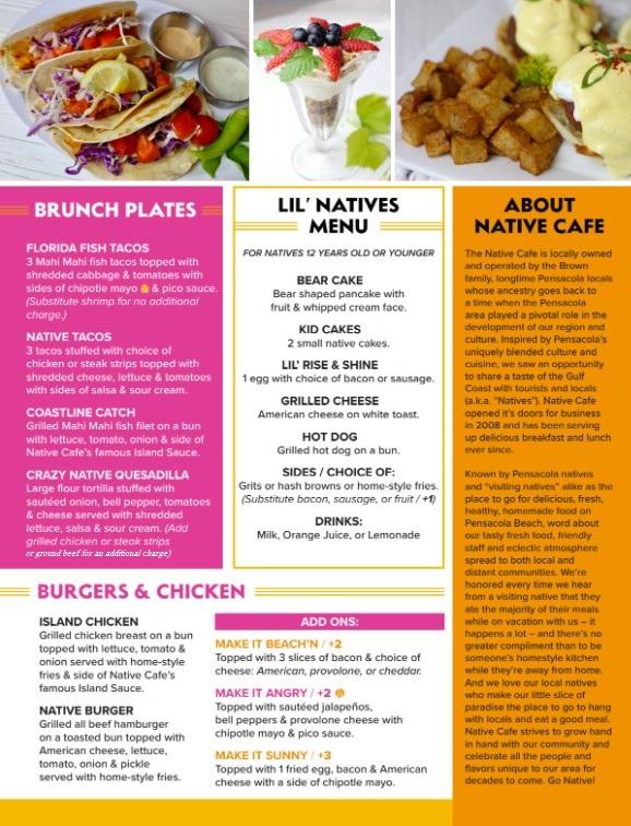 Native Cafe Lunch Menu